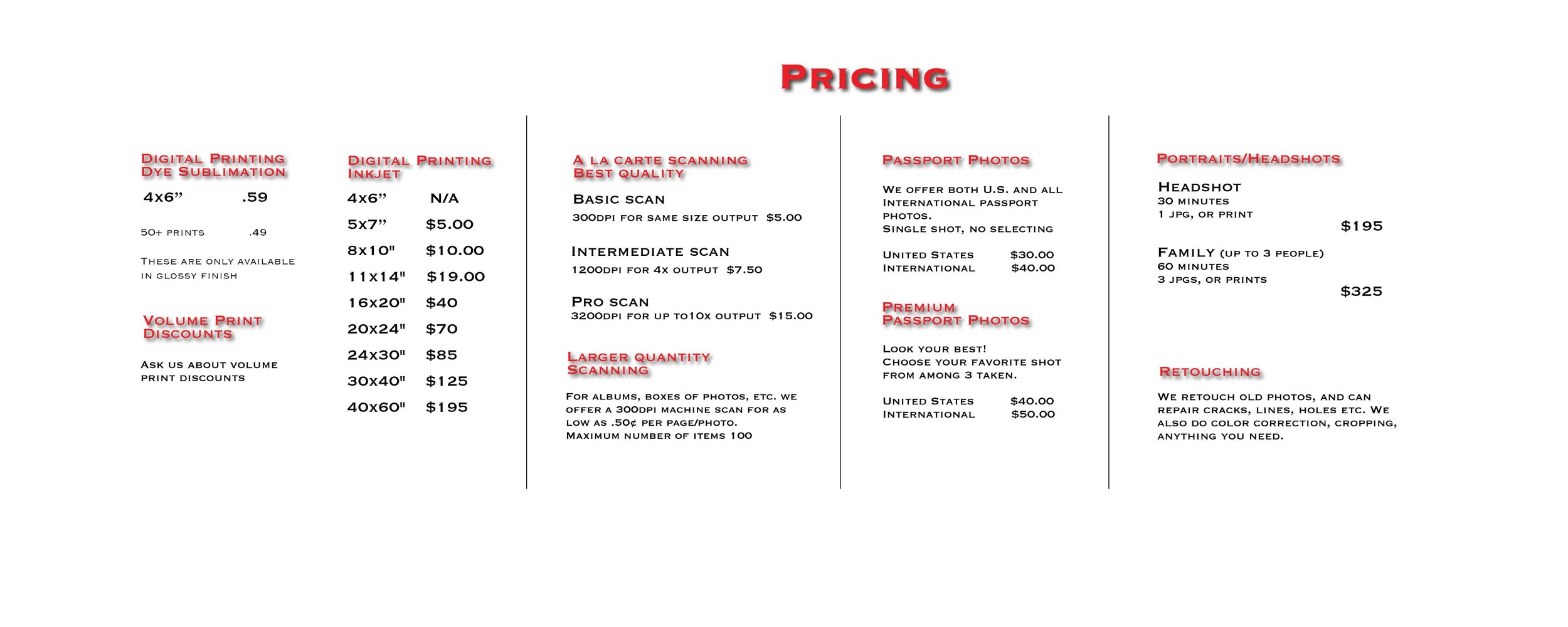 CLICK ON PRICES TO ENLARGE