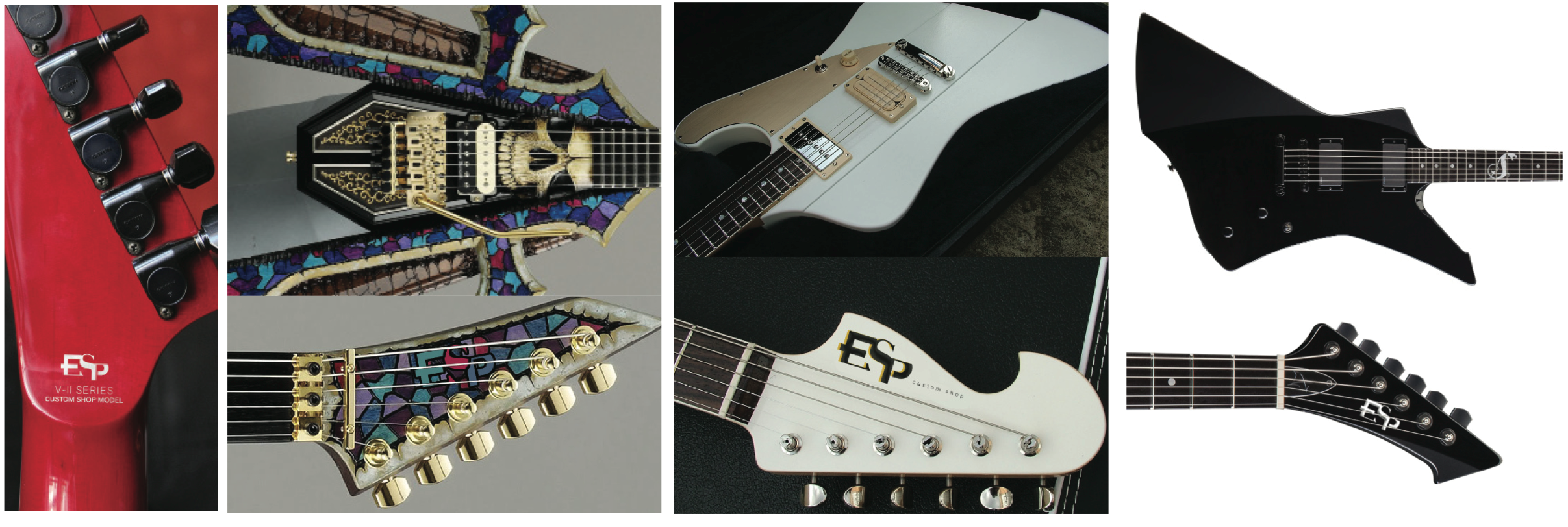 Because the guitar would mostly be in a horizontal position when it is played, the ESP logo will always be in a horizontal position. The design must stay the same size, but can change color or material based on the design of the guitar. Options include small strokes, offsets (must not exceed a third of the width of letterstroke), and chrome plating. The choice of color and material would be at the discretion of the custom shop worker and the client  The logo may also be modified as long as it does not clash with the material and color of the custom design. For example, the design of the ESP Amakusa involves a mosaic pattern, therefore the logo may also be a mosaic.