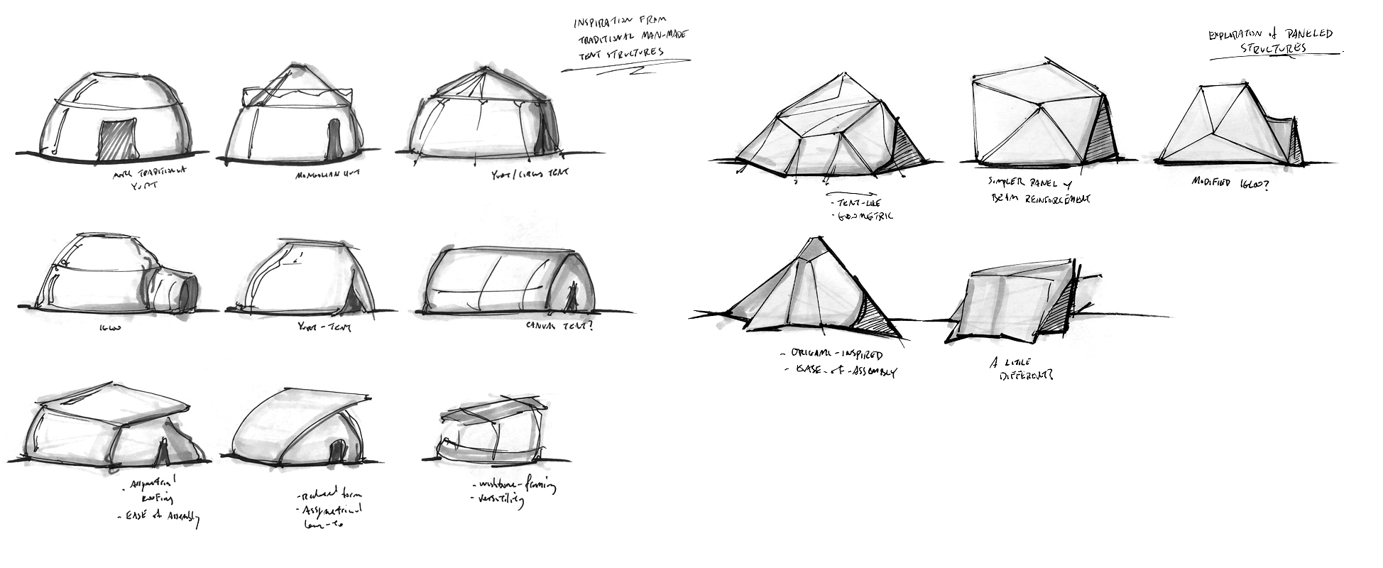 - In early stage concept ideation, I explored traditional structures for nomadic uses: yurts, tents, igloos, etc. Later stages I began to look at ways in which I could mimic these familiar forms with flat panel origami structures