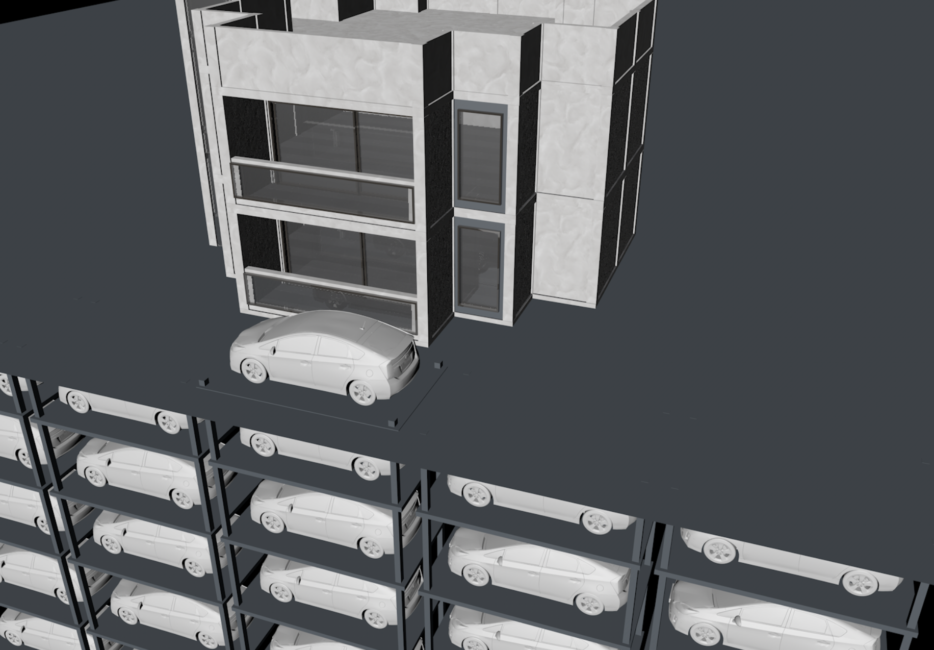 """- Moving """"drawers"""" for car storage underneath building eliminates hassle in looking for parking space and reduces CO2 emissions in enclosed area.Vender machine-like nature makes car available at any entrance of building. Imagine if, after parking, you can enter a giant shopping mall from the East entrance and exit out the West and have your car waiting for you there."""