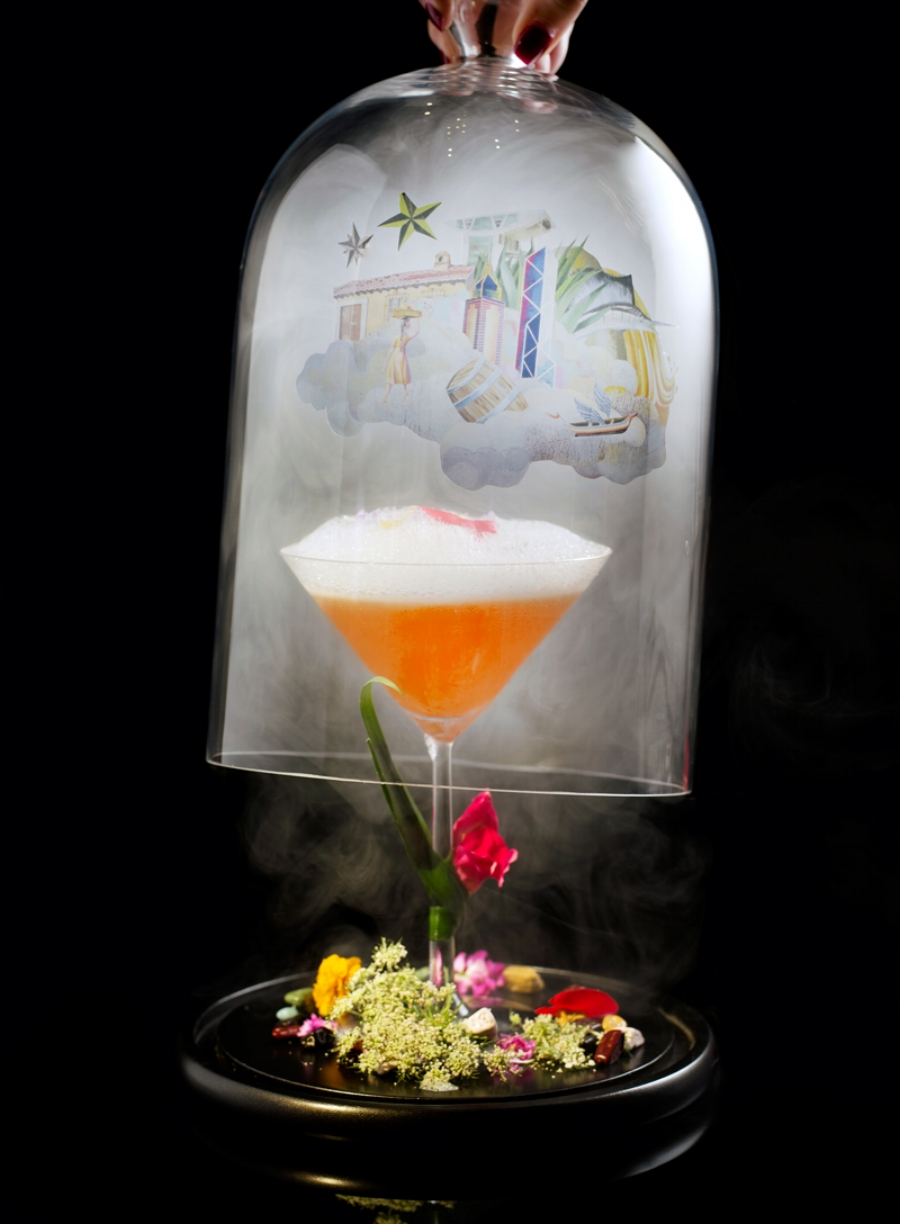 The Ozone bar printed glass cloches