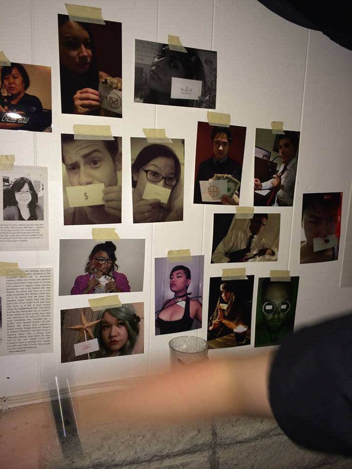 Wall of suspects. We chose to do this particular feature so guests would be able to identify each other faster by villain identity, even if they didn't know each other's real names. These character identities became like nicknames and improved socializing.