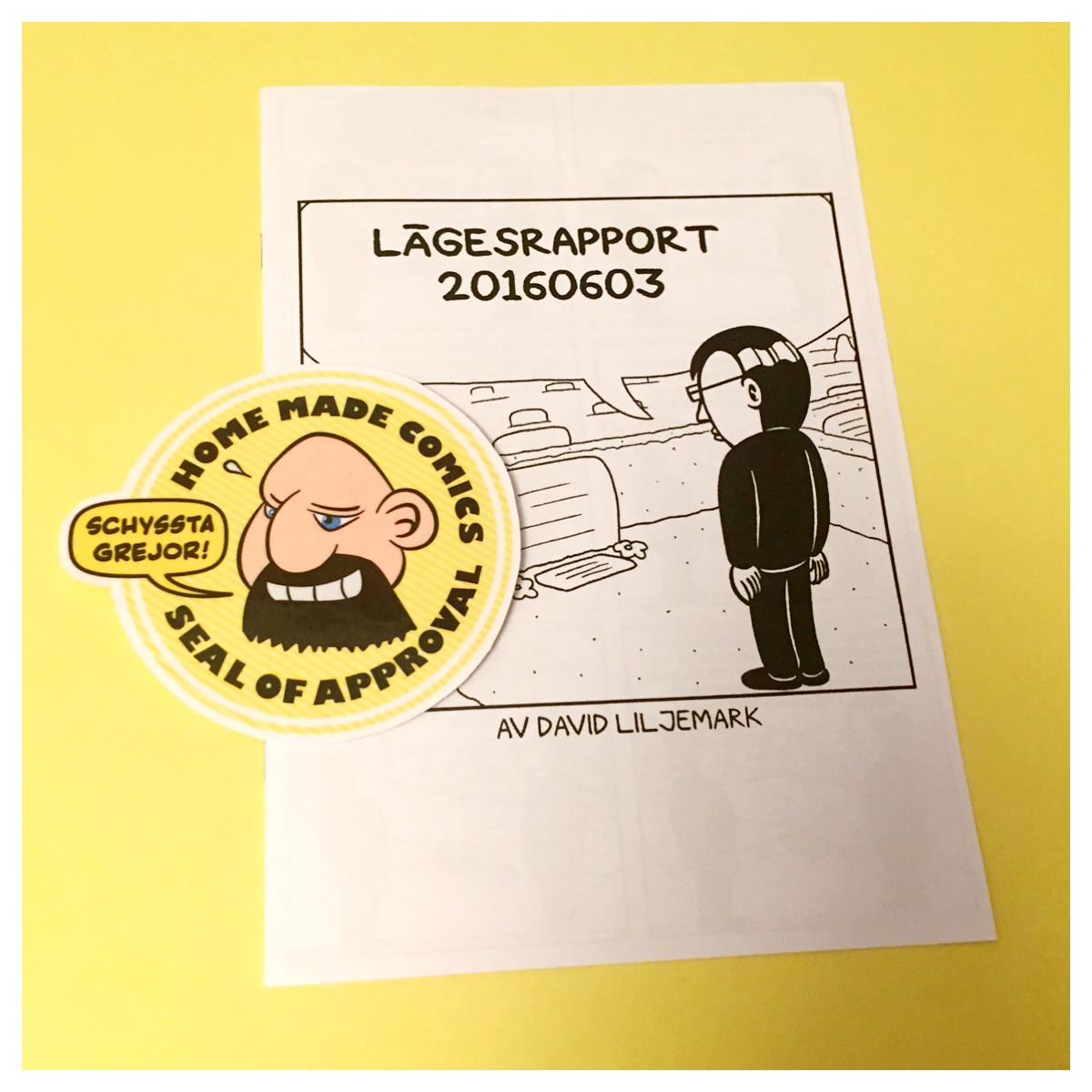 Home Made Comics Seal of Approval #136. Lägesrapport 20160603 av David Liljemark utgiven 2016.