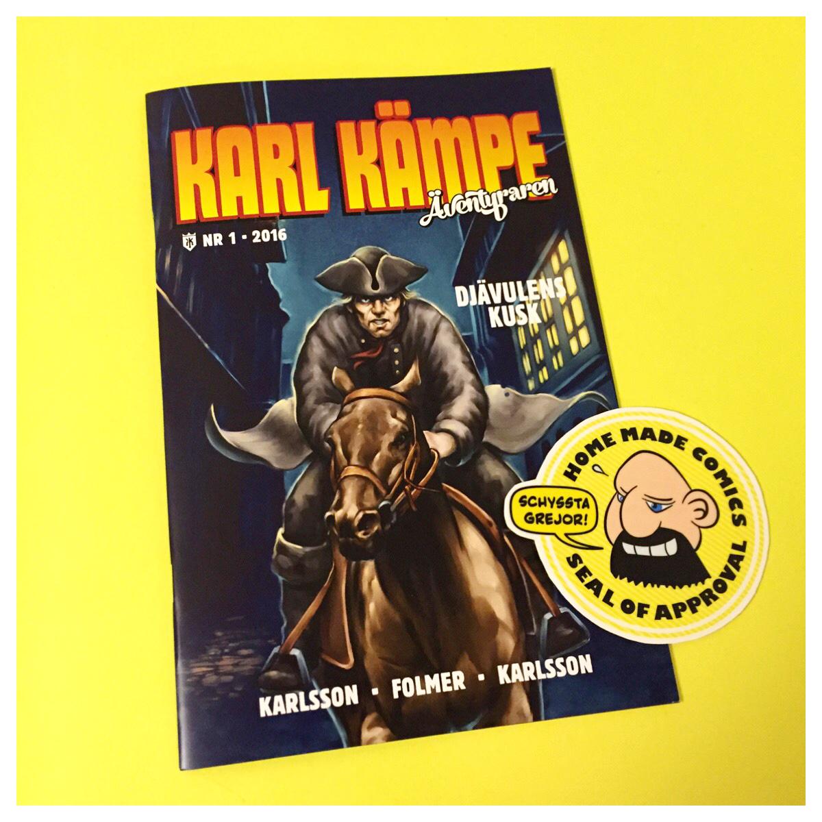 Home Made Comics Seal of Approval #146. Karl Kämpe äventyraren Djävulens kusk av Jörgen Karlsson, Per Folmer och Daniel Karlsson utgiven 2016.