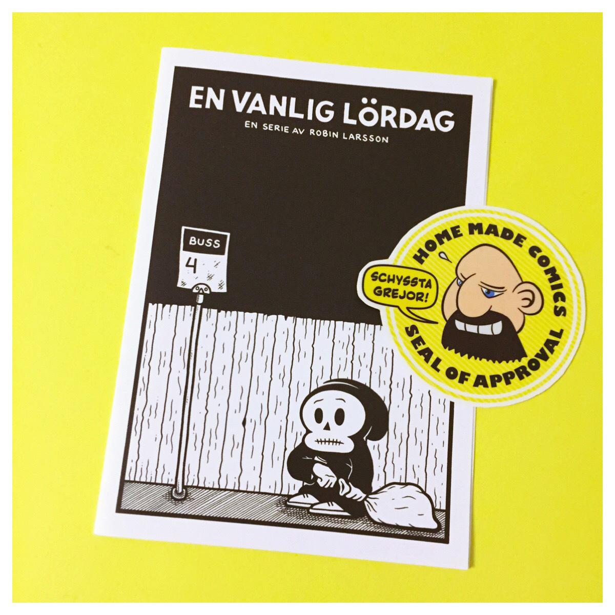 Home Made Comics Seal of Approval #155. En vanlig lördag av Robin Larsson utgiven 2016.