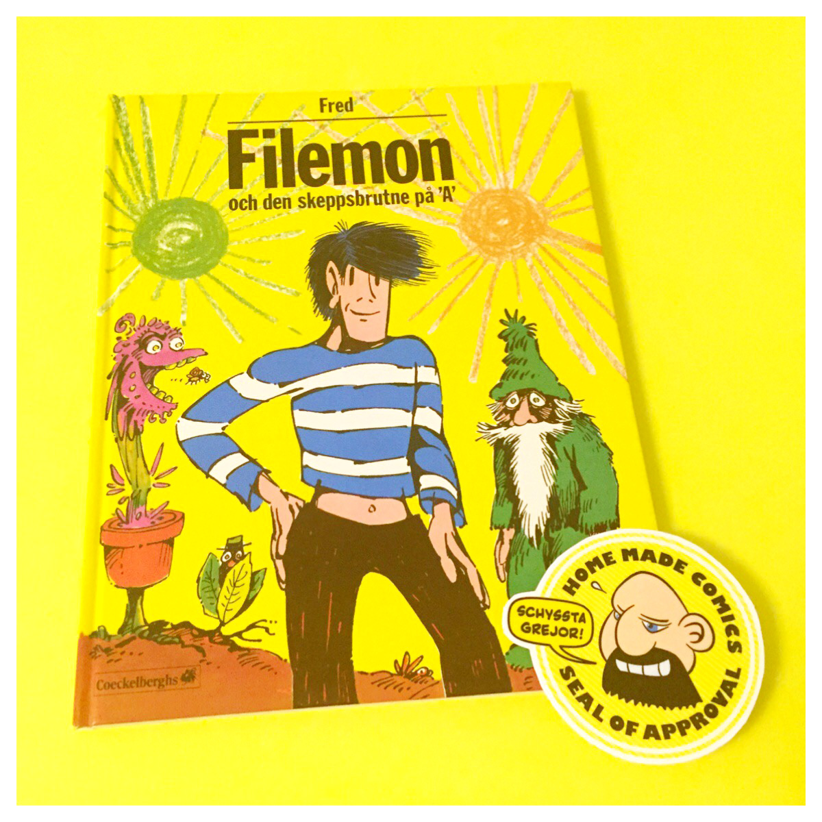 Home Made Comics Seal of Approval #166. Filemon och den skeppsbrutne på 'A' av Fred utgiven av Coeckelberghs 1979.