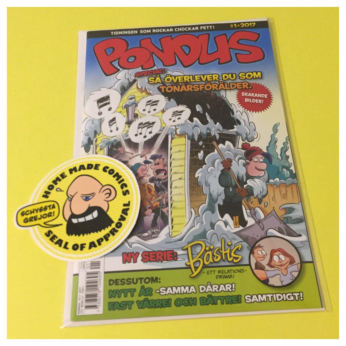Home Made Comics Seal of Approval #189. Pondus 2017-1 utgiven av Egmont 2017.