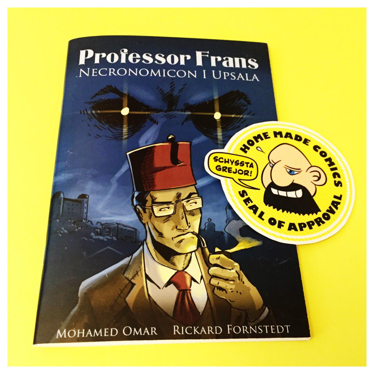 Home Made Comics Seal of Approval #197. Professor Frans Necronomicon i Upsala av Mohammed Omar och Rickard Fornstedt utgiven av Aguéli förlag 2015.