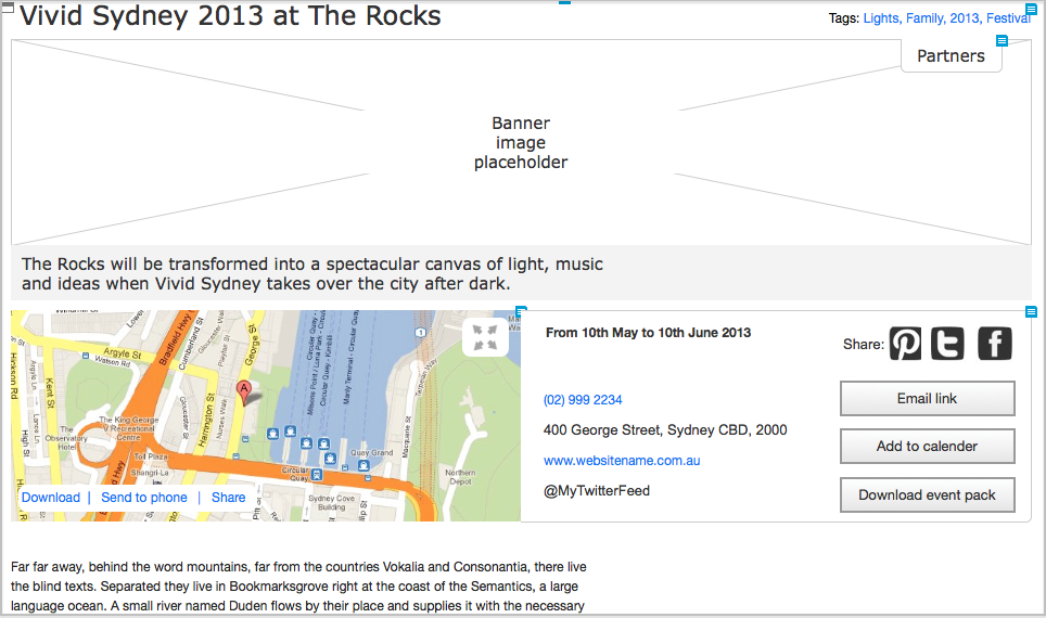 Wireframe for the Rocks event pages (Cognitive Ink)