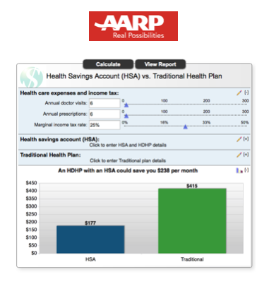 AARP provides a calculator for comparing health plans and finding potential savings.