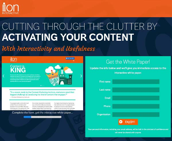 Try the gated interactive white paper. AKA the unexpected lead-gen conversion loser.