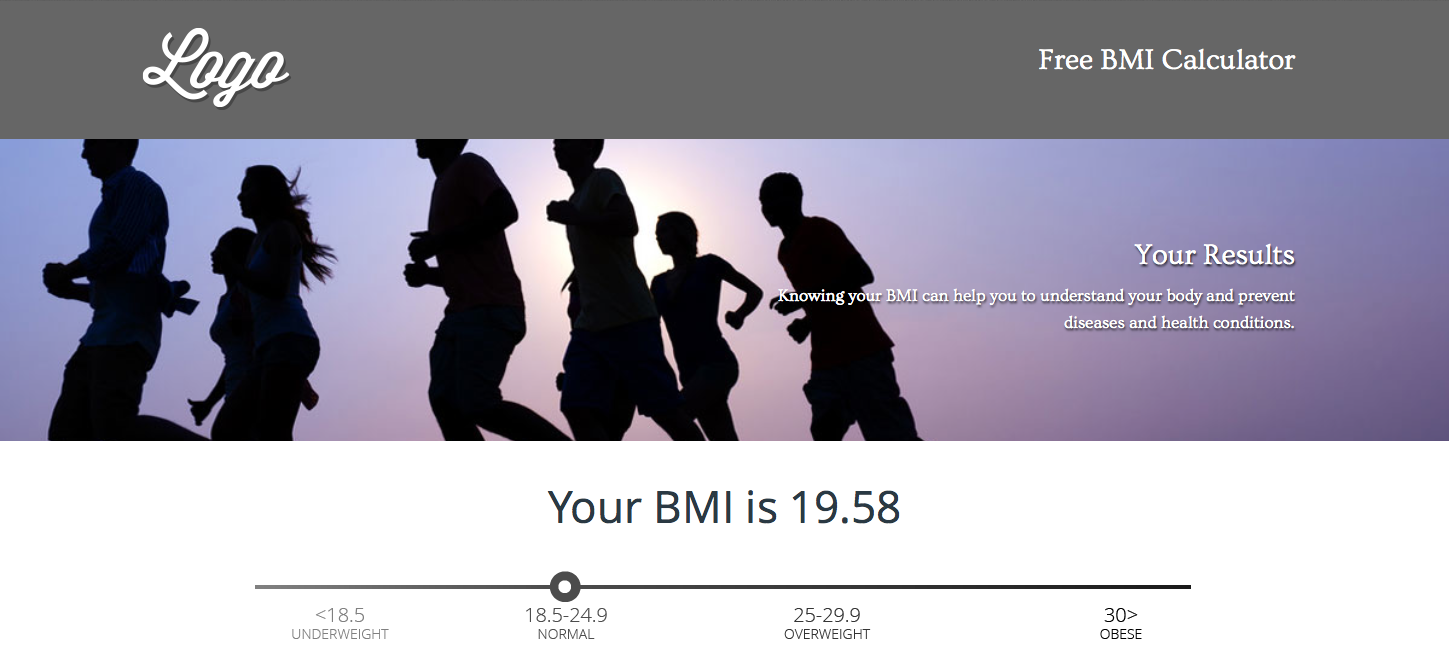 Within the full version BMI calculator, the visitor is brought to a results page that includes obesity facts, reasons for staying healthy, and a lead gen call-to-action to get tips and advice from your brand.