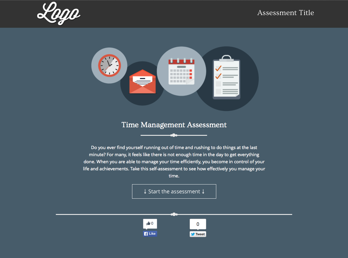 In our example, we're assessing the user's time management skills. The visitor is guided through a set of questions relating to their pain points and process.