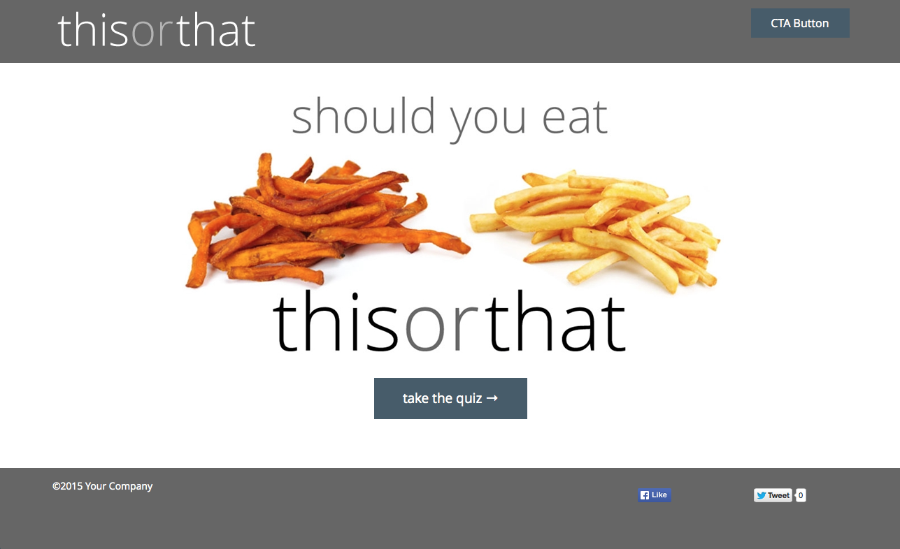 "This interactive content example quizzes visitors on which foods they should choose to eat in a ""this or that"" format. When used as a Quick Start in the ion platform, customers are free to replace all images and copy with their own interactive content on any topic."