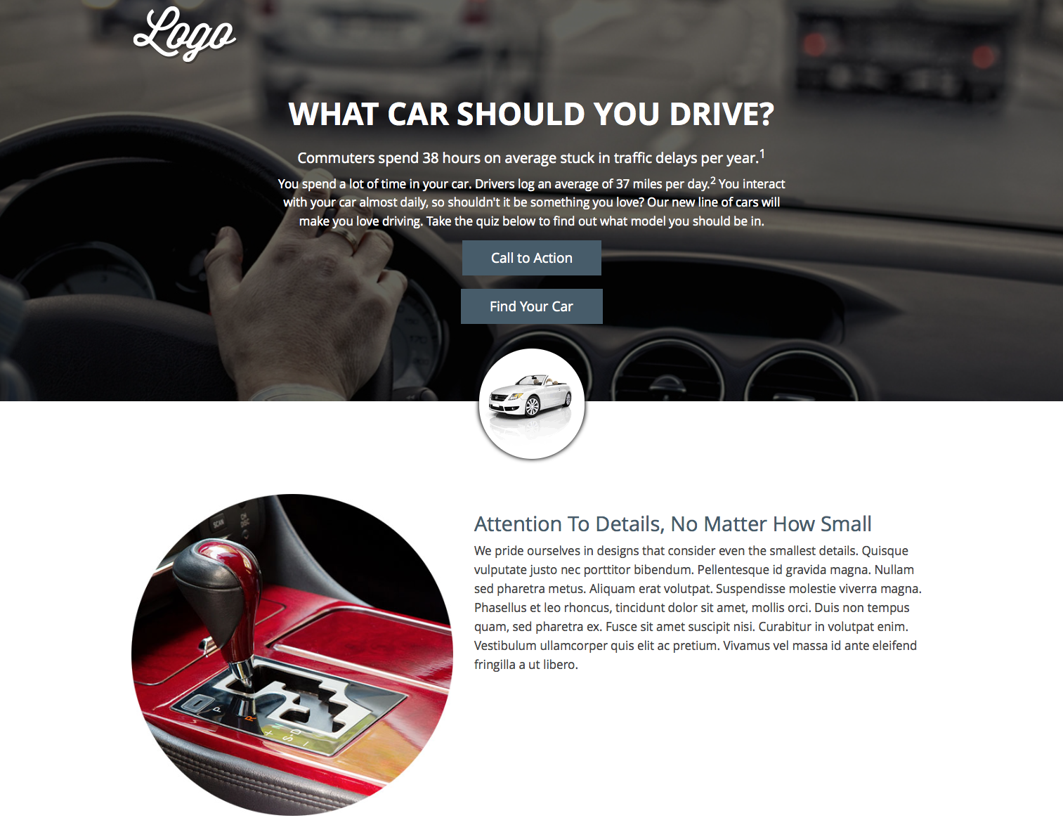 Visitors can engage in the lifestyle profiling questionnaire above the fold or build their brand interest consuming the content lower on the page.