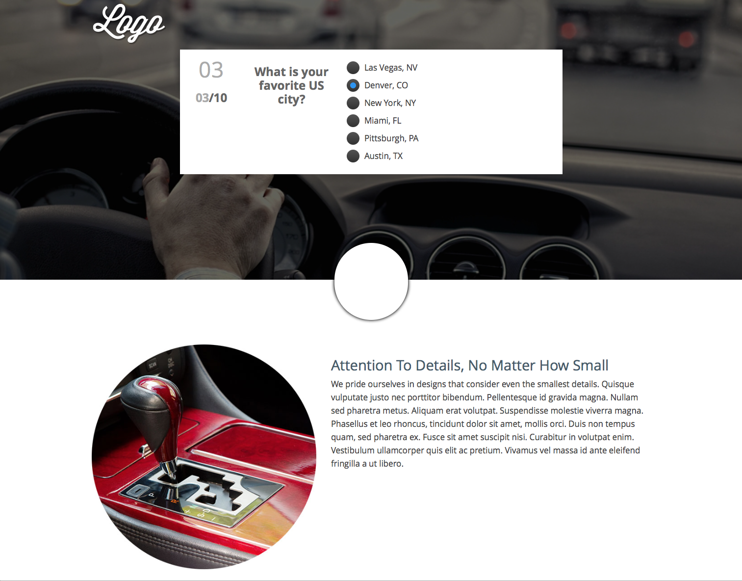 In this Quick Start example, there are 10 lifestyle questions that promise to get you matched with the right car. Again, these questions and any content in the experience can be changed to suit the needs of your organization, product or service.