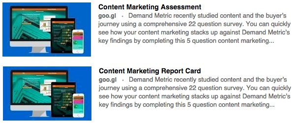 Screenshots of the two competing LinkedIn sponsored updates. Clicking will take you to the winning Report Card version.