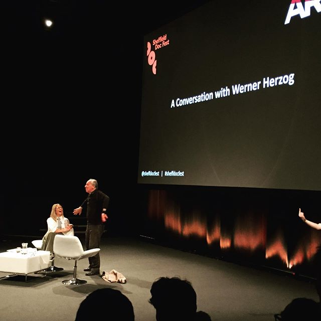 "Evening Herzog moved seamlessly into morning Herzog. ""Film school and rules, just throw them away, forget about it."" I don't think the sign language lady is actually giving him a middle finger here. #wernerherzog #sheffdocfest #documentary #filmmaking"