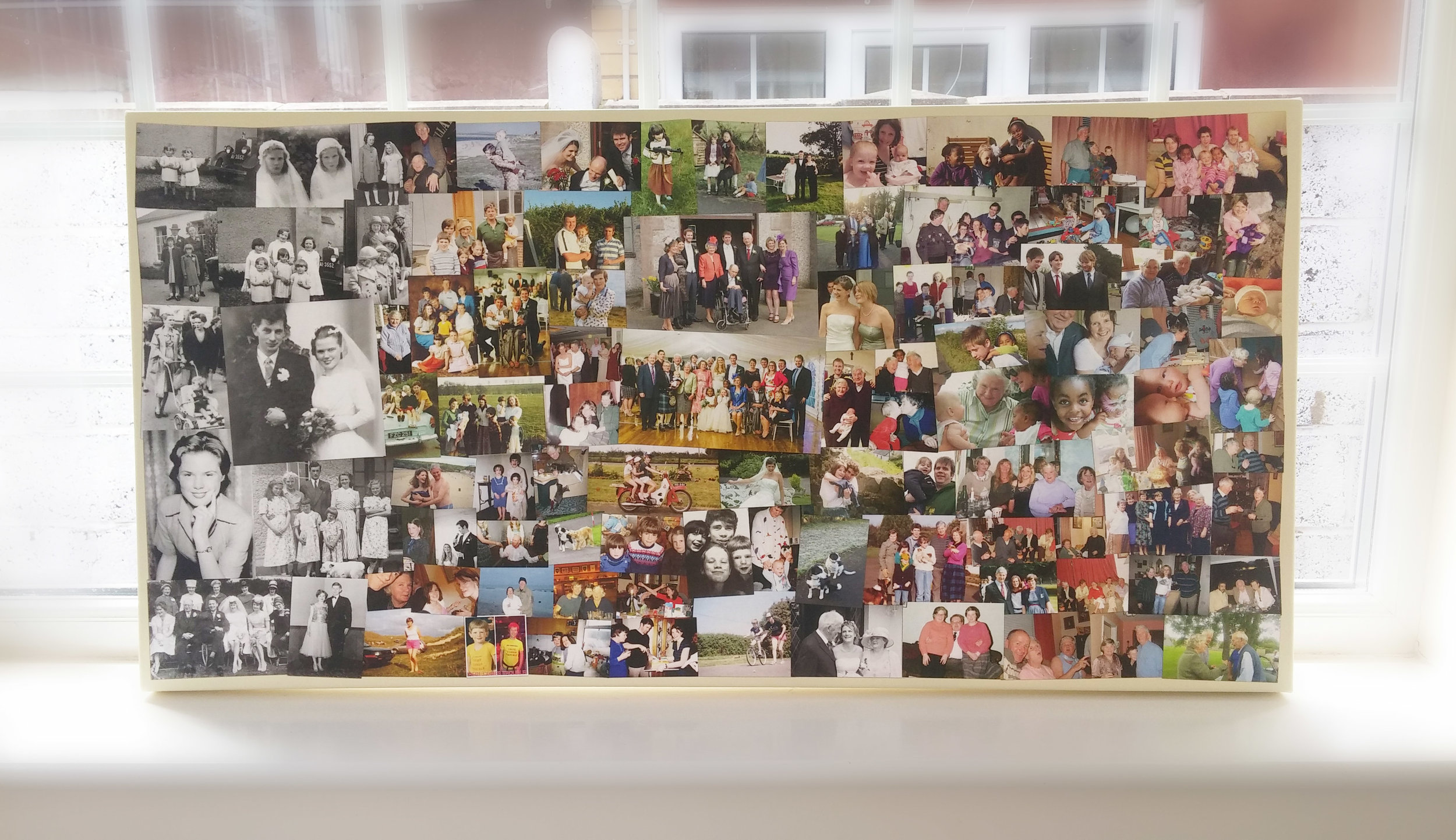 Three generations of family photos on a collage canvas