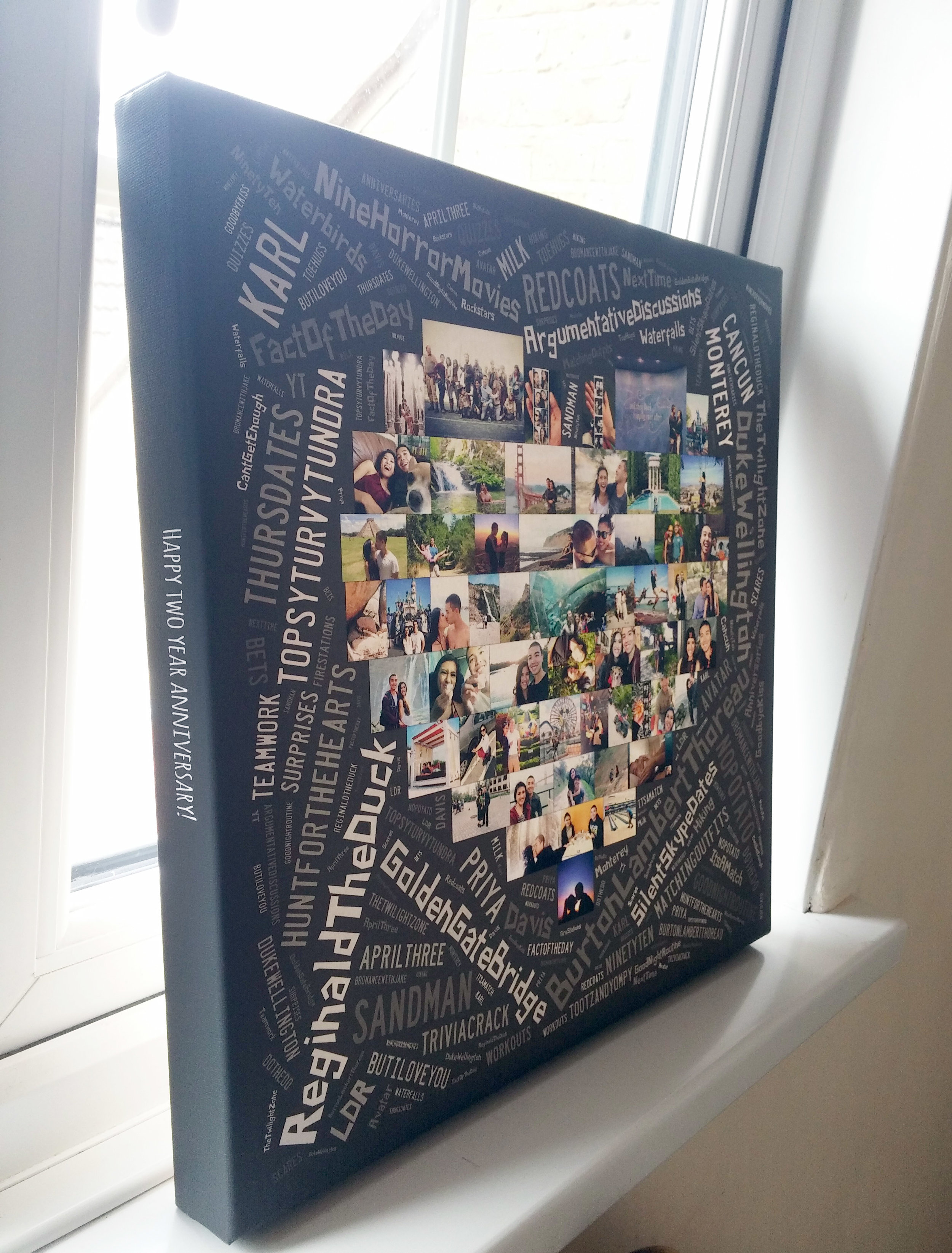 A WOrd ARt Collage comining photos and words on canvas for a birthday gift