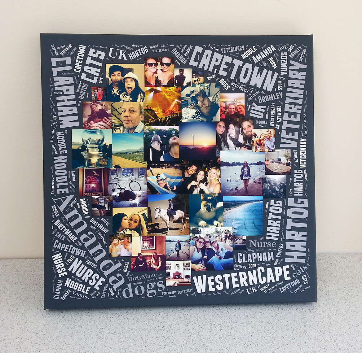 A word art photo collage on canvas made for a girlfriend