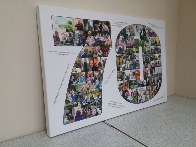 A 20x30 inch Text Collage canvas with approximately 100 photos