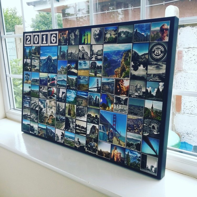 """an 8x12 grid with 4 large photos and 4 block texts on a 20x30"""" canvas"""