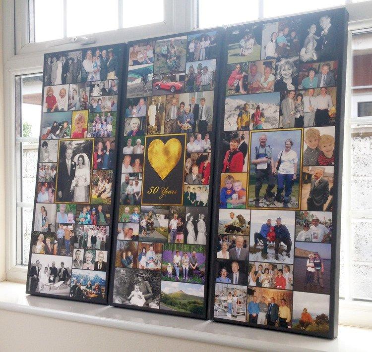 3x 12x30 Inch Photo Collage Canvas