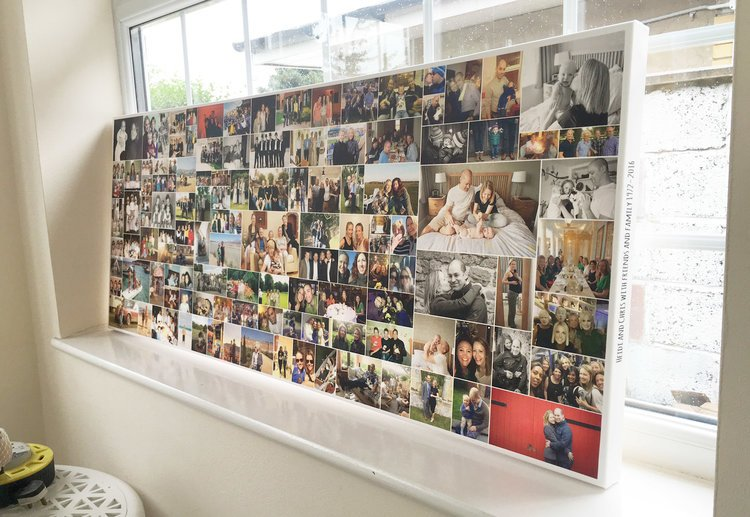 Custom designed photo collage on canvas with 100 photos