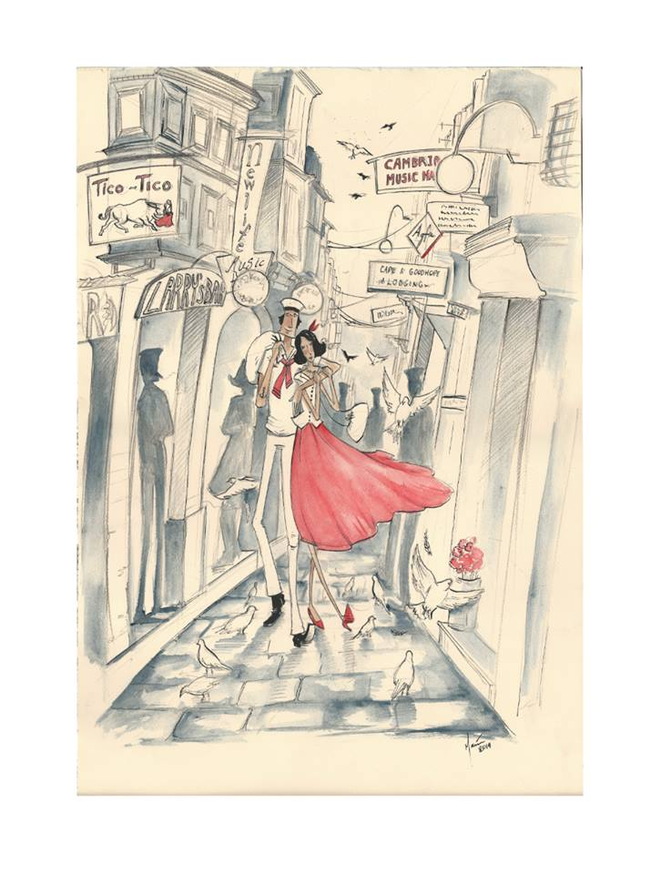 I finished a commissioned drawing of a sailor and his girl strolling around Strait Street. Worked this in the style that I had used in my February exhibition... ink, watercolour and pencils :)
