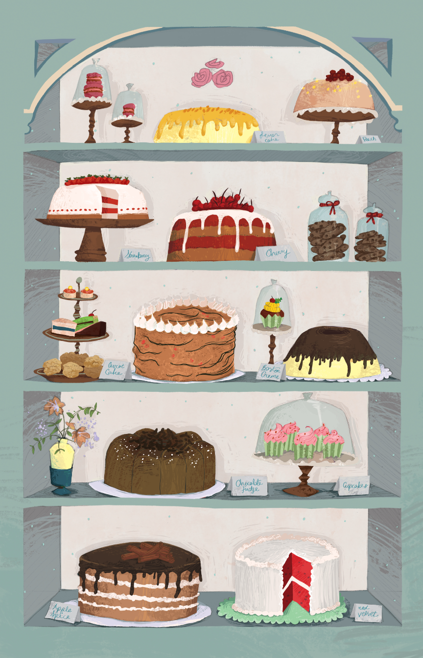 Cake Illustration that I have Sketched for Flora's and that was coloured by Inez Kristina