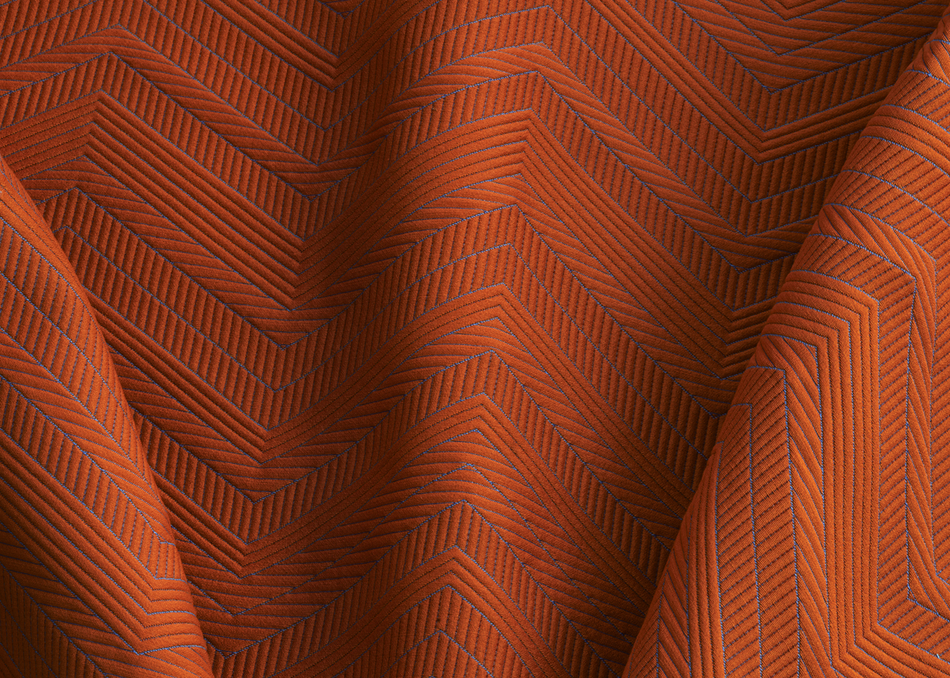 Moving Blanket  - is inspired by the simplicity of its name – a moving blanket. Designed with a chevron pattern using a matelassé structure to enhance its padded construction, this elegant reinterpretation of a classic material features both large- and thin-stitched lines inspired by artist Sol Lewitt's drawings and focuses on contrast. Available in 9 colors.