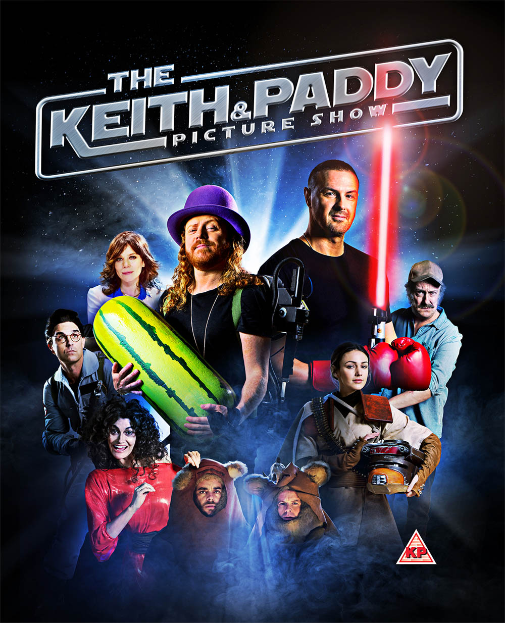 This image is strictly embargoed until 00.01 Thursday 27th April 2017From TalkbackThe Keith and Paddy Picture Show on ITVPictured: Back row: Spengler [Robbie Williams], Adrian [Anna Friel], Keith Lemon, Paddy McGuinness and Quint [Stephen Tompkinson]. Front row: Dana Barrett [Sarah Parrish], Ewoks [Ant & Dec] and Princess Leia [Michelle Keegan].This photograph is (C) Talkback and can only be reproduced for editorial purposes directly in connection with the programme or event mentioned above. Once made available by ITV plc Picture Desk, this photograph can be reproduced once only up until the transmission [TX] date and no reproduction fee will be charged. Any subsequent usage may incur a fee. This photograph must not be manipulated [excluding basic cropping] in a manner which alters the visual appearance of the person photographed deemed detrimental or inappropriate by ITV plc Picture Desk.  This photograph must not be syndicated to any other company, publication or website, or permanently archived, without the express written permission of ITV Plc Picture Desk. Full Terms and conditions are available on the website www.itvpictures.comFor further information please contact:james.hilder@itv.com / 0207 157 3052
