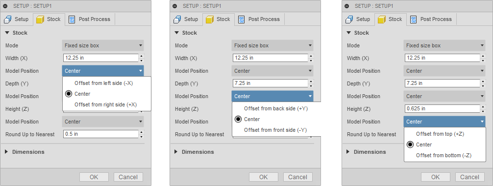 Options for offsetting a Fixed size box in the X, Y, and Z directions.