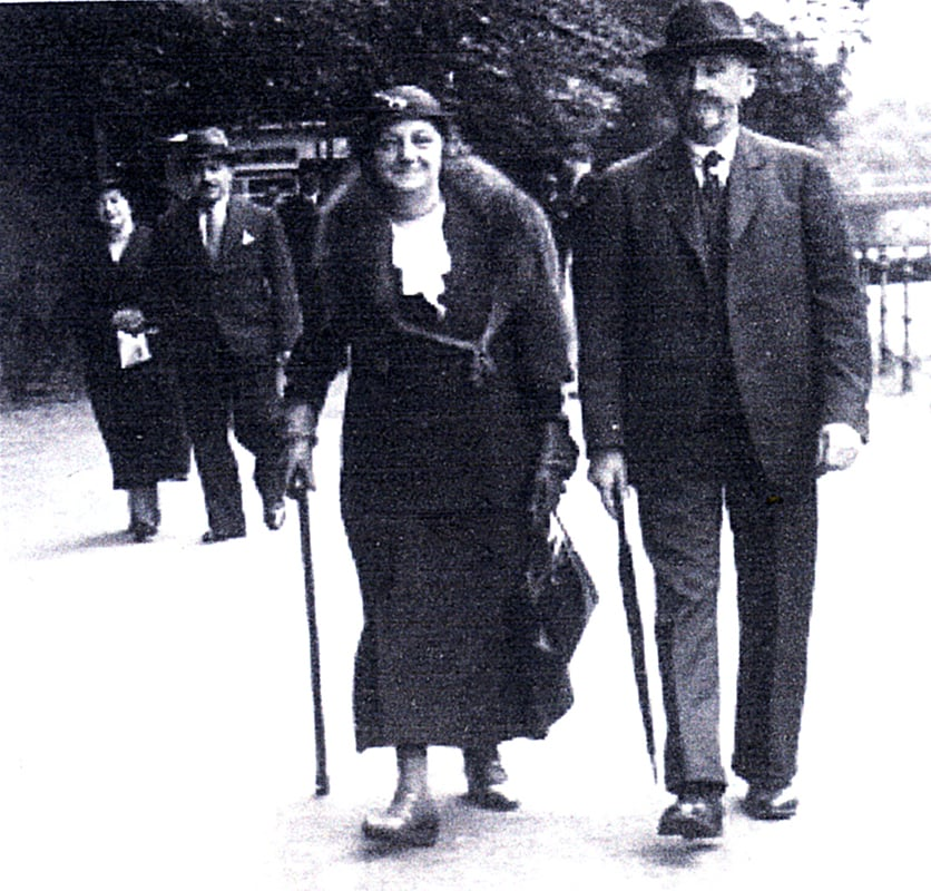 Susi's grandparents. Her Grandmother died in Auschwitz and her Grandfather died in Theresienstadt Concentration Camps. They were encouraged to go into trains by being told they were to go to an 'Old People's Home'.