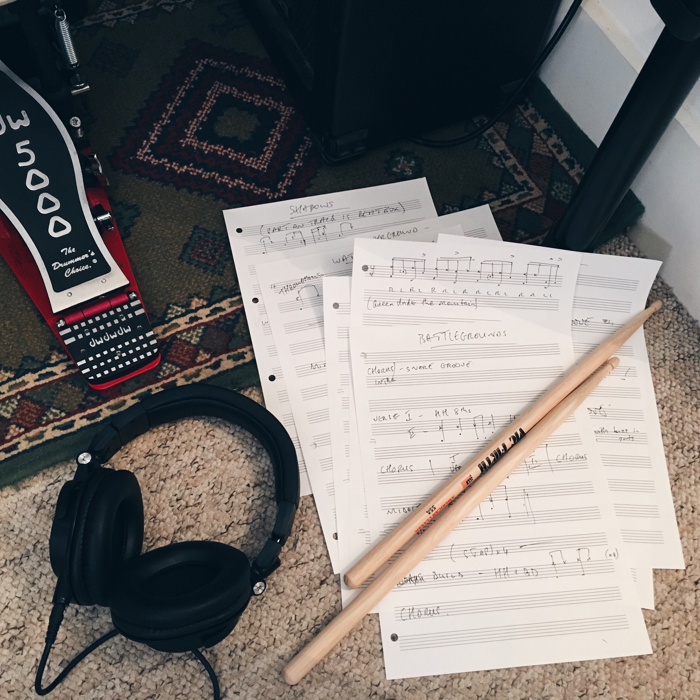 Scribbled notes for a set I'm learning for some gigs over the next few months —Emphasis on the scribbled.
