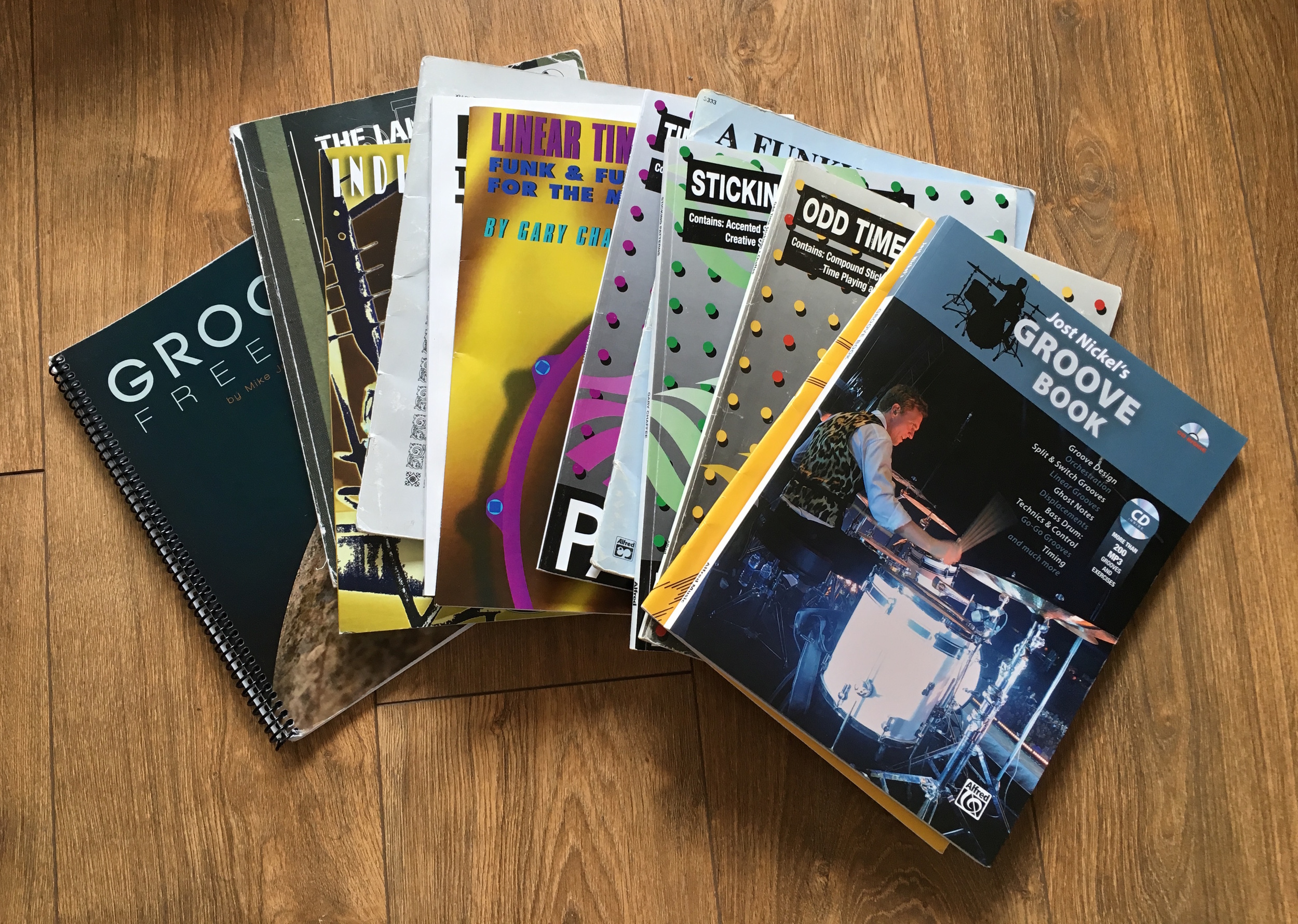 A small part of my collection of drum books