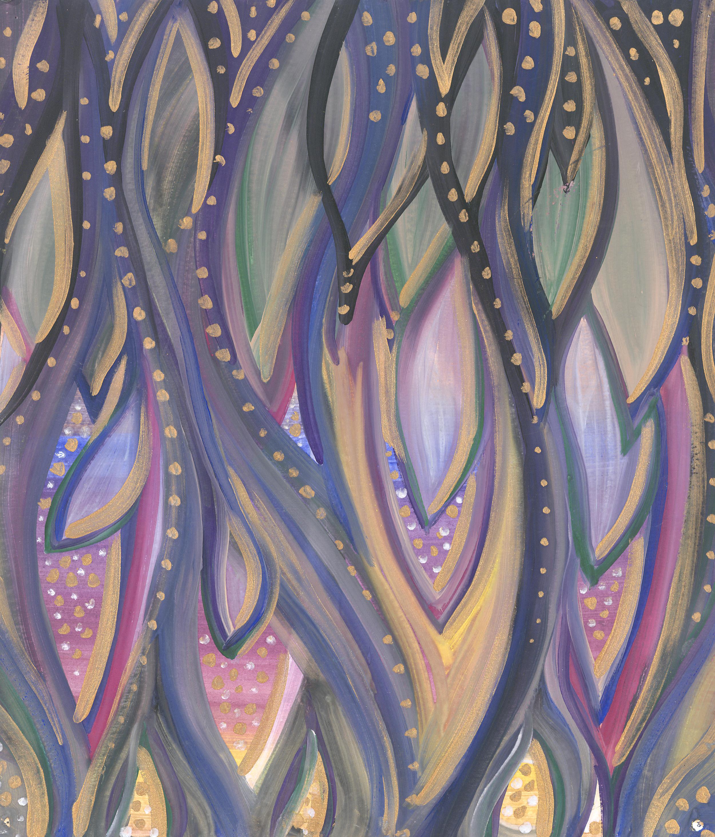 Painted feathers, organics