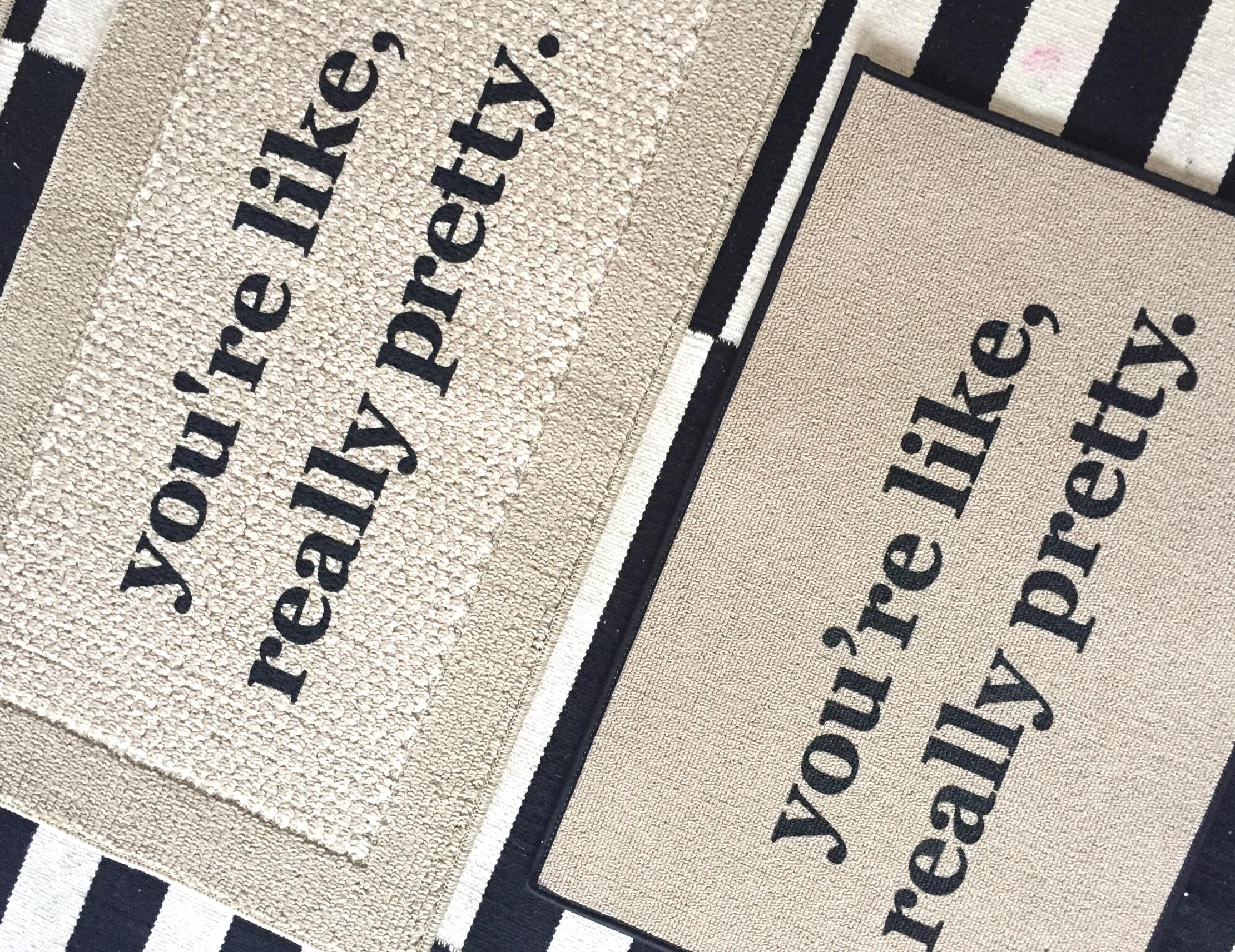 Hand painted mat (left)vs. screen printed mat (right)