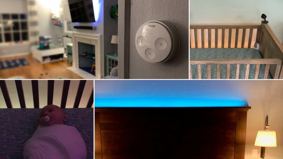 Hue lights can help create a fun atmosphere, set the stage for bedtime, or offer minimal visibility without waking the wee ones.
