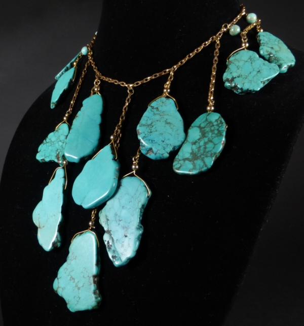 Spanish Queen Turquoise Bib Necklace by Betty Badd Couture