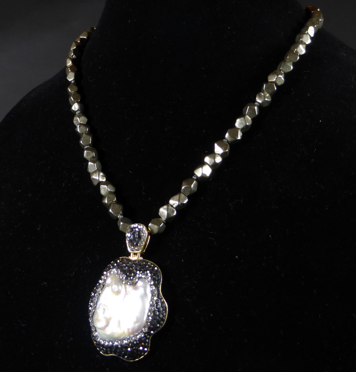 Beautiful pyrite and mother of pearl necklace from Betty Badd Couture