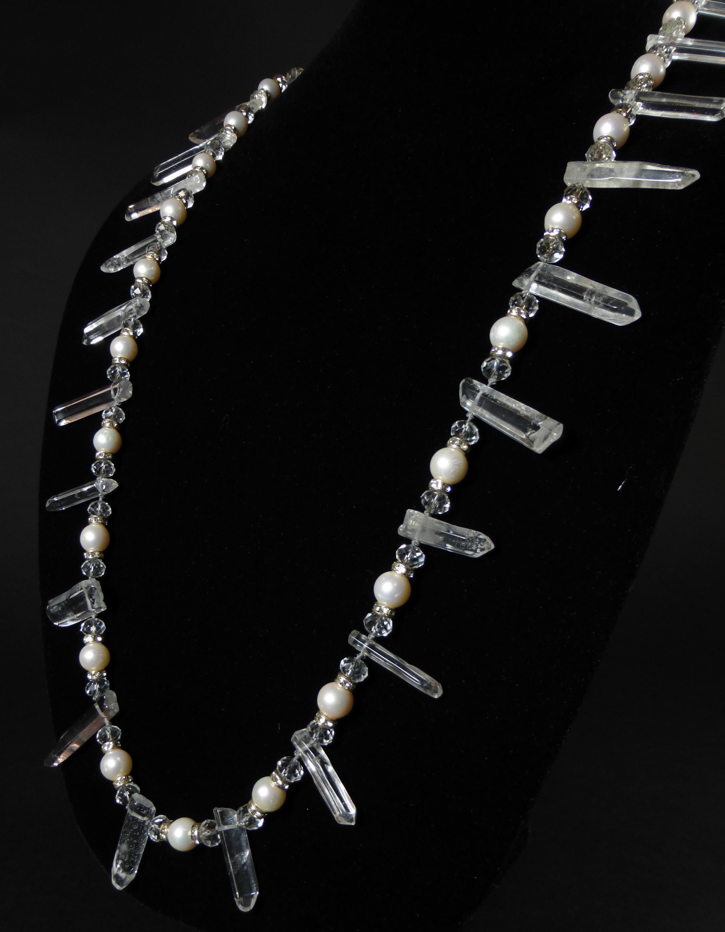 "52"" Pearl Rondell and Crystal Quartz necklace 