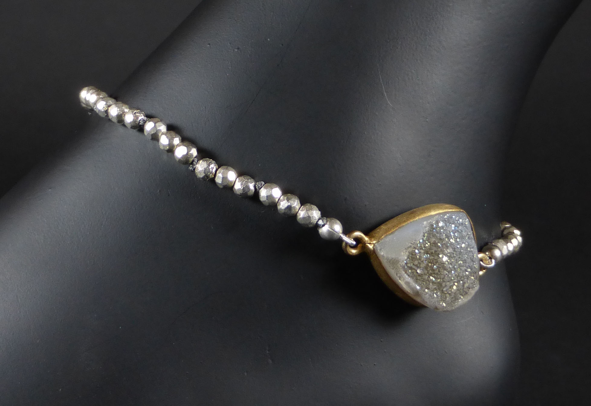 Pyrite and Druzy Anklet from Betty Badd Couture