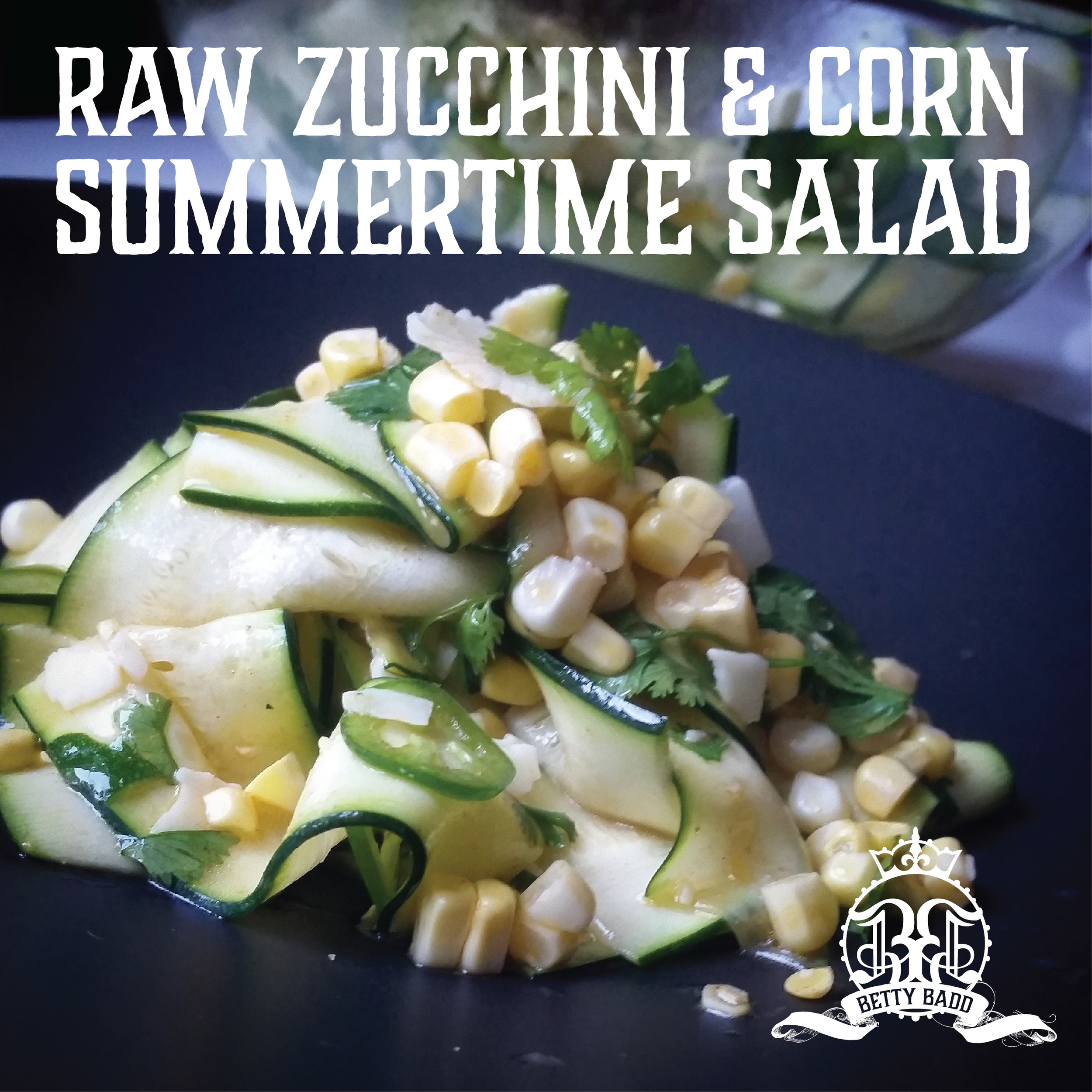 A simple and delicious summertime salad of raw zucchini and corn.