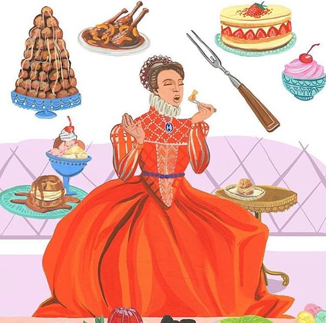 One of my absolute favorites from A Woman's Place was Catherine De Medici, who brought forks from Italy to France, along with so many beautiful foods.  #illustrationoftheday #illustratorsoninstagram #illustration #awomansplace #bookillustration #booksaremagic #bookstagram #foodillustrator #illustratedwomen #womenwhorock #womenofillustration #womensupportwomen #womenhistorymonth #womenshistory #artistsofinstagram