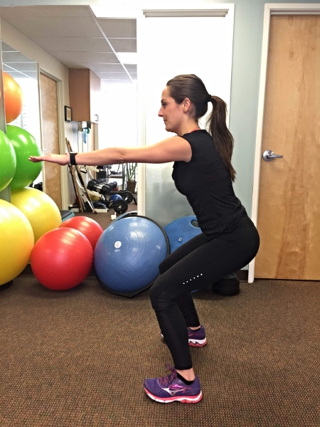 A basic double leg squat strengthens multiple muscles you use during hiking including the glutes, quads, and hamstrings. Work on your form in front of a mirror.