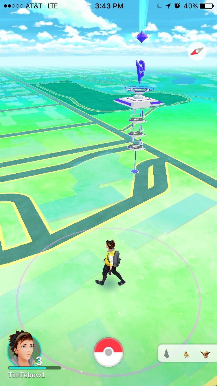 Image of walking around a city in Pokémon Go