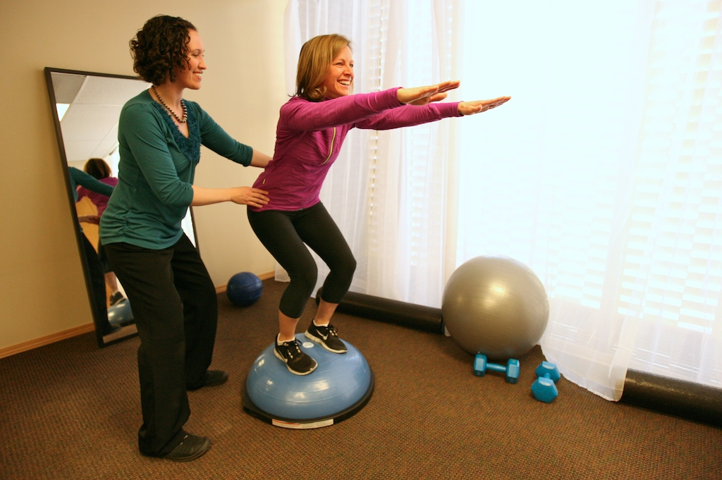 Whole Body Health Physical Therapy Squat on BOSU ball