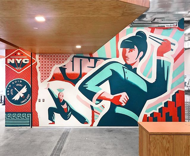 Hand painted murals for Kung Food, a restaurant in a tech company's office in NYC. @stoutsf